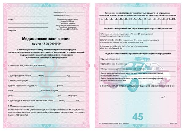 водительская медицинская справка для работы водителем